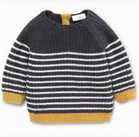 Wholesale Sweater Boys Stripes - Baby boys sweater toddler kids knitting long sleeve pullover children cotton stripe sweater coat 2017 autumn new kids warm clothing T5030