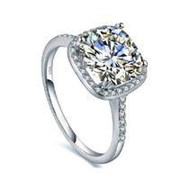 Wholesale Mixed Labs - Luxury Lab Created Cubic Zirconia Silver Ring Eight Hearts Eight Arrow Cushion Cut Diamonique CZ Square Halo Ring Bijoux Bague