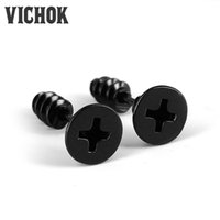 Wholesale Cool Earrings Women - 316L stainless steel earrings cool Fashion Screws Stud Earrings Screwback Earring best gift free shipping for women party working VICHOK