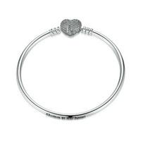 Wholesale European Cz Crystal Beads - 100% 925 Sterling Silver love heart clip clasp bead bangle Fits Pandora European Charms Snake Chain Bangle & Bracelet CZ paved Jewelry 2017