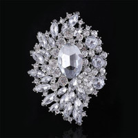 Wholesale large bouquet brooches for sale - Group buy Large Brooch Bouquet Sparkly Silver Boutonniere Corsage Crystal Rhinestone buckle Flower Pins Swarovski Wedding Big Brooch Pin Best Jewelry