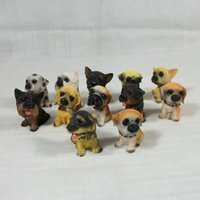 Wholesale Folk Dog - 12 dog simulation dog ornaments 12 sets of small size creative resin crafts boutique jewelry random delivery