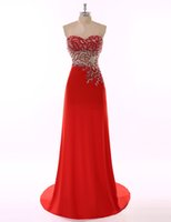 Wholesale Long Line Skirt Pattern - Red Long Evening Dresses 2017 with beaded Patterns vestidos de noiva A Line skirts Sweetheart Neck Formal prom gowns free shipping