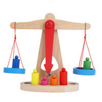 Wholesale montessori wooden - Wholesale- New Montessori Educational Toy Small Wooden New Balance Scale Toy With 6 Weights For Kids baby toys for children montessori math