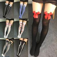 Wholesale 12 Pairs Christmas Socks - Halloween Cosplay Over Knee Stocking Christmas Charm Women Lady Sexy Thigh High Long Leg Socks Blood Socks 360 pairs OOA2868
