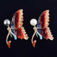 Wholesale Mermaid Pins - jewelry cheap butterfly brooches pins fashion brooches gold brooch for wedding gifts for guest mermaid brooch with pearl rhinestone