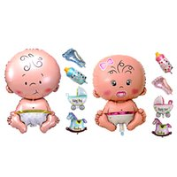 Wholesale Baby Shower Girl Balloons - 5Pcs Baby Beauty Shower Foil Balloon Baby Shower Boys Girls Holiday Decorations Foil Balloons Stroller Blue(boy) Pink(girl)