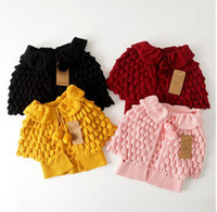 Wholesale Sleeveless Sweater Coat - Hu Sunshine Kids Girls Knitted Cape Sweaters Coats Design Ruffles Fall Winter Jackets Outwears Wholesale Free Shipping