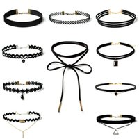 Wholesale Tattoo Pendant Gold - Hot Sale Gothic Black Lace Multi-Layer Tattoo Choker Necklace Charm Long Tassel Adjustable Pendants Necklaces for Women fashion jewelry