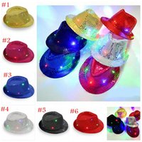Wholesale Sequin Cowboy Hats - Kids Led Hats Colorful Cowboy Jazz Sequins Hats Cap Flashing Children Adult Unisex Party Festival Cosplay Costume Hats Gifts 6 Colors YYA363