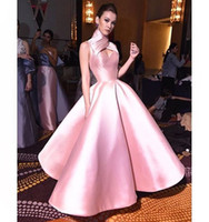Wholesale Halter Sweetheart Ball Gown - 2017 High Neck Ball Gown Prom Dresses Pink Cross-criss Keyhole Neck Floor Length Sleeveless Evening Gowns