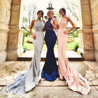 Wholesale Designs Party Dresses - 2017 New Design Silver Blush Lace Bridesmaid Dresses Halter Backless Mermaid Long Navy Blue Formal Wedding Guest Dress Party Gown 2016 Cheap
