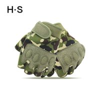 Wholesale Free Gym Workouts - Men Fingerless Summer Green Camouflage Tactical Gloves Half Finger Workout Anti Slip Climb Moto outdoors Driving Glove M L XL
