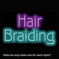 реальные штриховые знаки оптовых-Wholesale- Hair Braiding Neon Sign Handcraft Real Glass Tube Beer Bar Pub Recreation Room Garage Windows Neon Signs Store Display VD 17x14