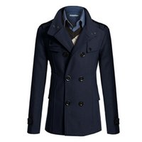 Wholesale Classic British Coats - Wholesale- Trench Coat Men Classic Men's Double Breasted Masculino Trench Clothes Long Jackets Coats British Style Overcoat 3XL Plus Size H