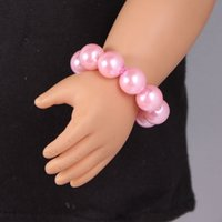 Wholesale Wholesale 18 Inch Doll Accessories - Pink Pearl Braelets 18 Inch American Girl Doll Accessories 15 Colors Doll Pearl Bracelets For Choosing