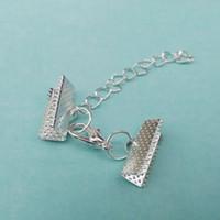 fin des casquettes achat en gros de-Les extrémités de sertissage de perles couvrent les agrafes de homard sautent des anneaux cordes embouts
