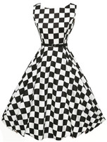 Wholesale Pinup Black White - Women Black White Plaid 50S Dresses 2017 Female Elegant Vintage Pinup Audrey Hepburn Style 60s Gown Party Rockabilly Dress