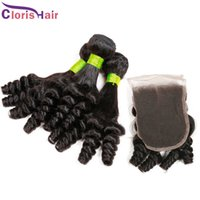 Wholesale Indian Remy Natural Curl - Unprocessed Aunty Funmi Hair With Closure Cheap Bouncy Romance Curls Virgin Brazilian Fumi Remy Human Hair Weaves Bundles With Lace Closures