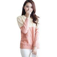 Wholesale Fresh Sweater - Wholesale- New Autumn Winter Sweater Women Retro Spell Color Diamond Pull Femme Small Fresh Twist Pullover Hedging Jumper Vestidos LXJ072