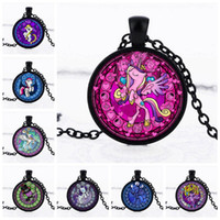 Wholesale Gold Plated Signs - 2017 US Cartoon Pony characters Expressions Rainbow Pony Pendant sign Necklace Fashion Time gem DIY Jewelry best gifts for kids Wholesale