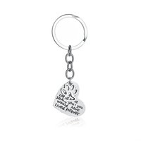 pençe anahtar zinciri toptan satış-Pet Anıt Takı El Damgalı 'Aşk Eğer Yaşamış Olsaydı Olabilir Dolu Foever' Kalp Paw Print Anahtarlıklar Anahtarlık