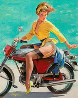 Wholesale Sexy Girl Posters - VINTAGE PINUP GIRL Gil ELVGREN,Hand Painted Art Oil painting Poster Sexy Girl on motorcycle,Home Wall Decor High Quality Canvas Multi sizes