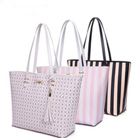 Wholesale Tote Bags Stripped - 2017 Spring Summer Large Capacity Shoulder Bags Women Pink Strip Bags Tassel Totes Fashion Brand Elegant Lady Handbags Free Shipping
