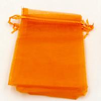 Wholesale orange wedding favor bags - Hot Sales! 100pcs orange With Drawstring Organza Gift Bags 7x9cm 9x11cm etc. Wedding Party Christmas Favor Gift Bags