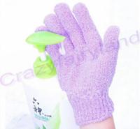 Wholesale Skin Scrub Gloves - Bath Gloves Exfoliating Skin Body Bath Shower Mittens Sponge Scrub Massage Spa Five Fingers Bath Bathroom Gloves Bathing Accessories