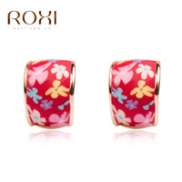 Wholesale Polymer Clay Flowers For Jewelry - ROXI Brand Earrings For Womens Jewelry Charm Red Fimo Ceramics Polymer Clay Earrings Women Wedding Party Jewelry Christmas Gift