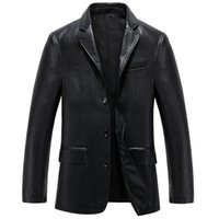 Wholesale Large Lapel Leather - 2017 New Spring Leather Jackets Men Coats Male Faux Leather Jackets Suit Collar Male Casual Overcoat Men PU Leather Large Size N033