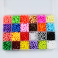 Wholesale Diy Kids Craft Set - 2400pcs boxed set 5mm 24 colour hama perler beads EVA kids children DIY handmaking fuse bead Intelligence Educational Toys Craft