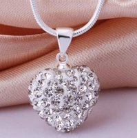 Wholesale silver shamballa pendant for sale - Group buy Lowest Price Best Gift Heart Crystal Shamballa Necklace Silver plated Jewelry Rhinestone Disco Crystal Bead Necklace women jewelry Gift a62
