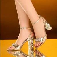 Wholesale Dress Pvc Golden - New Arrival Hot Sale Princess Summer Noble Nightclub Catwalk Show Sexy Tide Drill Diamond Leather Golden Thick Party Heels Sandals EU34-41