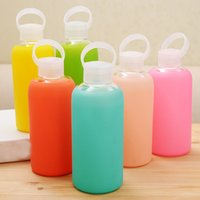 Wholesale Candy Drinks - Cute BKR glass bottle Design Silicone Cover candy color cloth pocket glass water bottle Jelly sport water bottles