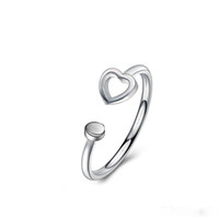 Wholesale Vintage Promise Rings - Solid Heart Design 925 Sterling Silver Wedding Promise Engagement Ring Jewelry Vintage Anti Silver Rings