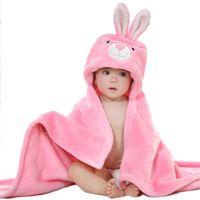 Wholesale Hot Girl Bath Boy - 3 Colors Hot Sale Baby Boy Girls Infant Super Soft Coral Fleece Hooded Bath Towel Wrap Robe Sleep Blanket Suit All Seasons