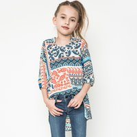 Wholesale Retro Style Blouses - Europe National Style New Big Girls Shirts Flower Children Clothing Retro Floral T-shirts Casual Kids Princess Long Shirt Tops A6985