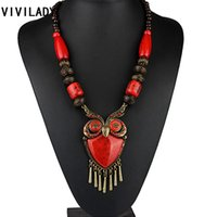 Wholesale Wood Owl Necklace - Wholesale- VIVILADY Fashion Owl Pendants Long Necklaces Women Newest Vintage Statement Blue Red Wood Beads Stone Animal Bohemian Jewelry