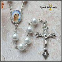 Wholesale Beaded Favors - Free Shipping Catholic White Pearl Rosary Necklace Ivory Glass Beads Religious Saint Icons Jesus Cross Rosary First Communion Baptism Favors