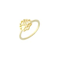 Wholesale Lotus Flower Jewelry Gold - 2017 Promotion Limited Trendy Women Elegant Jewelry Lotus Flower Zinc Alloy Rings Size 6.75 Mother's Day Gift Wholesale free Shipping