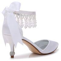 özel yüksek topuklu ayakkabılar toptan satış-2019 Boncuk Gelin Ayakkabıları Sivri Burun Düğün Ayakkabı Moda Tasarlanmış Yüksek Topuklu Ayakkabı ile Yay Custom Made