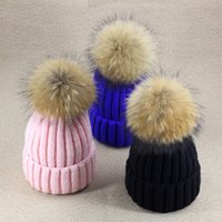 Wholesale Crochet Knited Hat - New 2018 Children Accessories Knitted Hat Winter Warm Kids Caps with Fur Ball Thick Cotton Knited for Boys and Girls Sweater Cap A7909