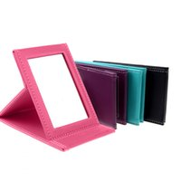 Wholesale Foldable Portable Leather Makeup Mirror Women Beauty Cosmetics Mirrors Make Up Tool