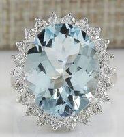 Wholesale Diamond Aquamarine Engagement Rings - 11.26CTW NATURAL AQUAMARINE AND DIAMOND RING IN 14K SOLID WHITE GOLD