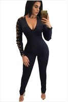Wholesale Sexy One Piece Clubwear - 2017 Sexy Long Sleeve Rompers Womens Jumpsuit Fashion Style V Neck Unique Casual Slim Bodycon Bodysuit One Piece Clubwear Party Jumpsuit