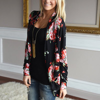 Wholesale Basic Woman Top - Wholesale- Autumn New Women Casual Outwear Boho Irregular Long Sleeve Wrap Cardigans Loose Floral Print Basic Plus Size Coats Tops Casacos