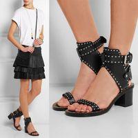 kampf schuhe mode großhandel-Mode-Design besetzt Leder Frauen Sandalen Kampf Stiefeletten Blockabsatz Gladiator Sandalen Frauen Sommer Schuhe Frau Alias
