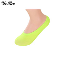 Wholesale Invisible Comb - Wholesale-YUROU Candy Colors 1 Pairs Women Soft Low Cut Casual Combed Cotton Loafers Boat Non-Slip Invisible No Show Socks